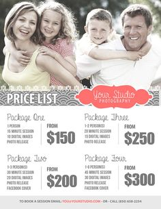 Family Photography Package Pricing by StudioTwentyNine on Etsy