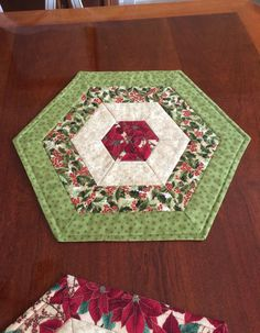Christmas Green & Red Quilted Hexagon Table Topper by seaquilt
