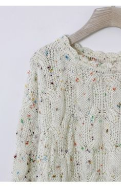 Candy Dots Knit Sweater with Scrolled Neckline in Ivory - Sweaters - Tops - Retro, Indie and Unique Fashion