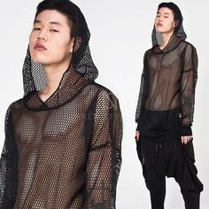 Tops - Avant-garde mesh hoodie - 241 for only ! Foto Fashion, Mens Fashion, See Thru Clothes, Mens Crop Top, Artistic Fashion Photography, Mesh Hoodie, Half Shirts, Character Outfits, Pretty Outfits