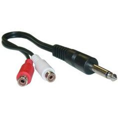 #Accessories #PcConnectTM Mono to RCA adapter, 1/4 Mono Male / 2 RCA Female, 6in Y-cable