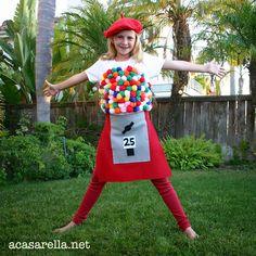 'A Casarella: Gumball Machine Halloween Costume Gumball Machine Halloween Costume, Gumball Costume, Halloween Costume Props, Last Minute Halloween Costumes, Cute Costumes, Costume Ideas, Ghost Costumes, Food Costumes For Kids, Purim Costumes