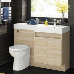 Serene 1200mm Light Oak Double Door Basin Unit And Ceramic Toilet 339 99 Bathroom Furniture