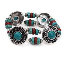 Turquoise Tribal Bracelet  Tribal Jewelry by BohoGrooveDesigns, $17.00