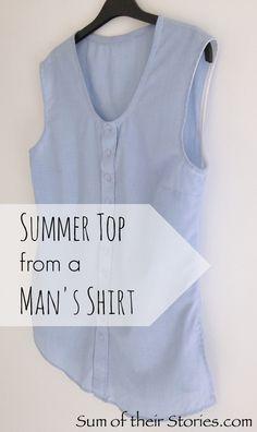 summer top from a mans shirt