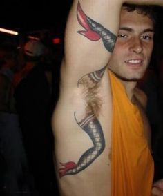 How much does a armpit tattoo hurt? We have armpit tattoo ideas, designs, pain placement, and we have costs and prices of the tattoo. Tattoo Fails, Armpit Tattoo, Epic Tattoo, Horrible Tattoos, Weird Tattoos, Funny Tattoos, Cool Tattoos, Tattoo Ideas, Tattooed Guys
