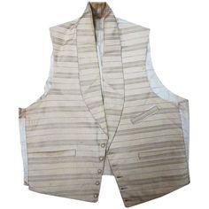 Antique Victorian Circa 1850 Mens' Striped Ivory Wool Vest / Waistcoat