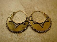 Brass Hoop Earrings Brass Earrings with Beads Boho by OCcreation