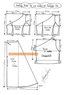 Modelo detallado para el tamaño de vestido de novia 36 - 50 - Patrón de costura