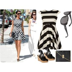 """LUCY MECKLENBURGH - Skater dress with accessories"" by eyewearglasses on Polyvore White Skater Dresses, Wearing Black, Eyewear, Black And White, Clothes For Women, Celebrities, Spring, Polyvore, How To Wear"