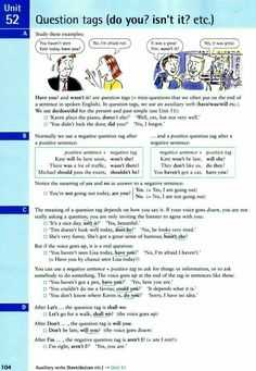 Question tags ( do you ? English Grammar For Kids, English Grammar Rules, English Worksheets For Kids, Grammar And Punctuation, English Verbs, Grammar Lessons, English Units, English Book, English Writing
