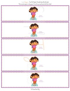 Dora The Explorer Birthday Party wter bottle labels