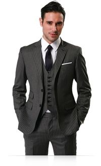 Charcoal Chalk Stripe Three Piece Suit | Indochino