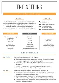 Mechanical Engineer Resume Templates Lovely Engineering Resume Example & Writing Tips Engineering Resume Templates, Student Resume Template, Best Resume Template, Resume Design Template, Cv Template, Report Template, Templates Free, Professional Resume Examples, Job Resume Examples