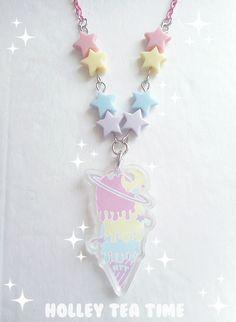 ☆ Cosmic Ice Cream Necklace ☆ Clear Acrylic Charm ☆ Fairy kei, Kawaii, Pastel, Harajuku, Pop kei, Mahou kei, Magical girl, JFashion, Decora - Thumbnail 2