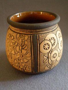 "Weller Pottery ""Claywood"" Vase w/Art Deco Style Floral Design"