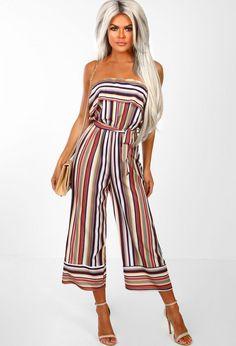 1a24cf953af Candy Cutie Multi Stripe Strapless Culotte Jumpsuit - 6. Pink Boutique UK