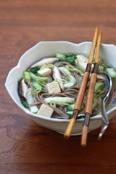 Cooking For 2: Miso Soup With Shiitakes, Bok Choy, and Soba Noodles