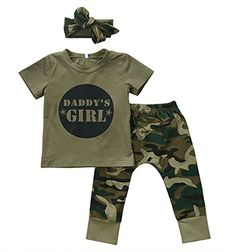 4fb50322a768c Cute Boys Girls Clothes short sleeve letter print pullover round neck  T-shirts camouflage Pants Bow Headband 2 or cotton Set