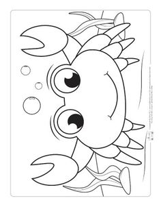 Ocean Animals Coloring Pages for Kids Itsy Bitsy Fun Beach Coloring Pages, Farm Animal Coloring Pages, Preschool Coloring Pages, Coloring Sheets For Kids, Cool Coloring Pages, Printable Coloring Pages, Coloring Books, Fairy Coloring, Crab Crafts