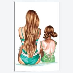 Mother Daughter Art, Daughters Day, Mother And Child, Hair Illustration, Illustration Fashion, Summer Prints, Beach Art, Hair Art, Fashion Sketches