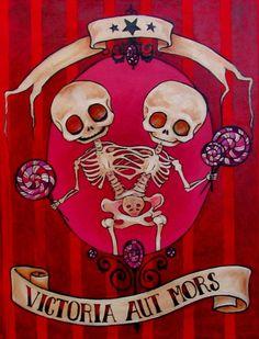 The Winners - Siamese Skeleton Art Print by morbidmerrygoround