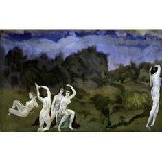 Nudes In A Landscape by Arthur Bowen Davies Figures Art Print