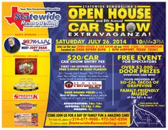 Statewide Remodeling Open House and Annual Car Show! Where: Statewide Remodeling HQ - 2450 Esters Blvd - DFW Airport, TX 75261 When: Saturday, July 2014 Time: - Dfw Airport, Door Prizes, Car Show, Sunroom, Open House, Home Remodeling, Events, July 28, Coupon