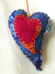 silk felted heart blue and pink hand stitched by TheNomadsNeedle on Etsy