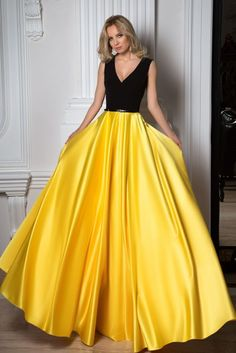 Simple Black And Yellow Charming V-neck Sleeveless Floor Length Prom Dresses, Shop plus-sized prom dresses for curvy figures and plus-size party dresses. Ball gowns for prom in plus sizes and short plus-sized prom dresses for Gold Prom Dresses, V Neck Prom Dresses, Prom Dresses For Sale, Beautiful Prom Dresses, Satin Dresses, Formal Dresses, Satin Skirt, Party Dresses, Occasion Dresses