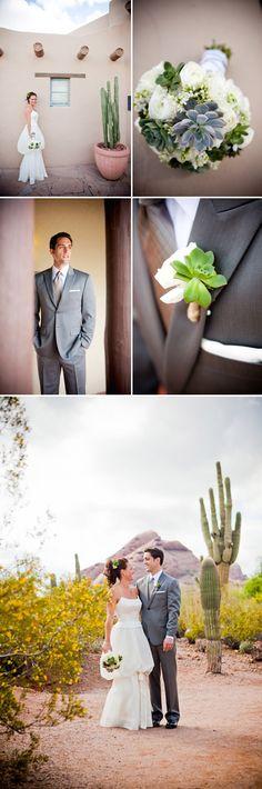 Arizona wedding at the Desert Botanical Garden in Phoenix, succulent wedding floral decor