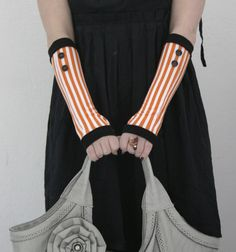 Very soft black and orange  striped fingerless gloves by WearMeUp, $22.00