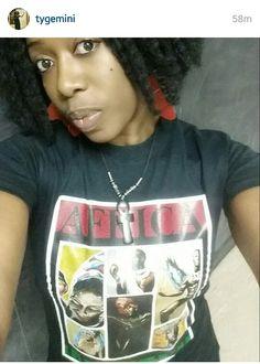 Ty Gemini wearing a Africa Lujar Art T-shirt!