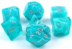 Roll large with a set of Cirrus Dice (Aqua). This 7-piece RPG dice set has...
