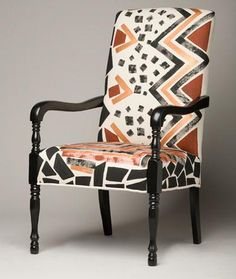 Non-Western Design: This is an African chair. The frame of the chair is not very different than western ideas, but the pattern and colors are unique to African culture. African Interior Design, African Design, Ethnic Design, Dining Room Design, Dining Room Chairs, Club Chairs, Baby Furniture Sets, Furniture Direct, Furniture Outlet