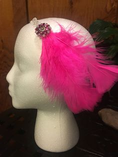 Hot Pink Feather Fascinator, 1920's Flapper Gatsby Headband Party Headband Costume Accessories by DaintylaceDesign on Etsy