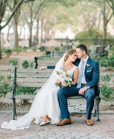 Bride and groom on a bench in one of their favorite parks in Charleston SC Aaron and Jillian Photography Nikon lens shot at 2 8 Bride Groom Poses, Bride And Groom Pictures, Wedding Picture Poses, Wedding Couple Poses, Wedding Bench, Poses Photo, Photo Shoots, Wedding Photography Poses, Wedding Photo Inspiration