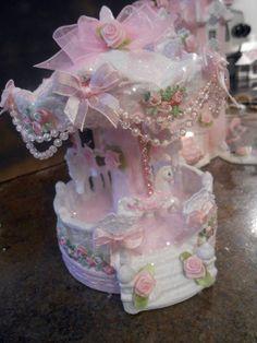 shabby victorian hp pink christmas village house carousel roses glitter