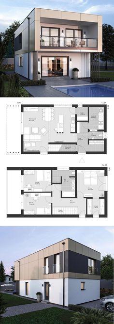 Moradia design moderno com telhado plano arquitetura de estilo Bauhaus - prefab . Modern House Floor Plans, Duplex House Plans, Small House Plans, Modern House Design, Prefabricated Houses, Roof Architecture, Sims House, Home Design Plans, House Layouts