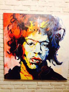 Jimi Hendrix - releitura Voka  Acrílica sobre tela  Artista: Ricardo Subires