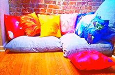 Chakra Flower Throw Pillows by Apothecary Tea and Gallery                       www.etsy.com/shop/SarahTaylorMoore                                     Photo copyright 2014 Sarah Taylor Moore.  Art, accent, blue, brick, colorful, Denver, Feng Shui, floor pillow, floral, flower, graphic art, industrial, lavender, loft, meditation, modern, nature, orange, photography, pink, purple, red, rose, set, violet, white, yellow, yoga,