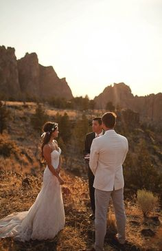 Sunset Wedding at Smith Rock State Park, Oregon | Photo by Nakalan McKay