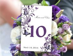 Printable Wedding table number card template Royal Purple by Oxee, $5.00
