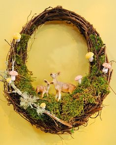 Decorate a store-bought grapevine wreath with small woodland creatures and greenery -- it's a grown-up shoebox diorama. Depict your favorite summer habitat or garden with only a hot-glue gun and a touch of imagination.