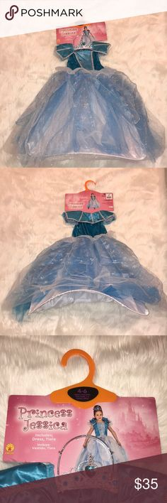 Girls Rubies Elsa Inspired Princess Costume 4/6 Girls Rubies Elsa Inspired Blue White and Silver Glitter Princess Costume Ages 4/6 Small Has a hoop skirt and comes with tiara Perfect for dress up or Halloween  New With Tags Rubies Costumes Halloween