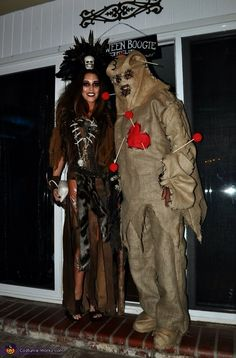 Witch Doctor and Voodoo Doll - Halloween Costume Contest via Voodoo Doll Halloween Costume, Doctor Halloween Costume, Cute Couple Halloween Costumes, Witch Costumes, Scary Costumes, Halloween Costume Contest, Voodoo Dolls, Creative Halloween Costumes, Doll Costume