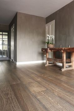 Very beautiful aged French wooden floor with a nostalgic look . - Very beautiful aged French wooden floor with a nostalgic look. Dark Wooden Floor Living Room, Living Room Flooring, Luxury Vinyl Tile Flooring, Wooden Flooring, Accent Wall Designs, Flooring Options, New Living Room, Floor Design, Home Furnishings