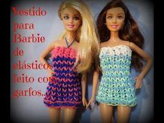 Vestido barbie para Barbie,de elásticos feito com garfos...