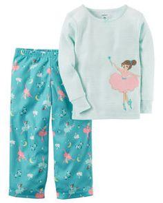 2-Piece Ballerina Cotton & Fleece PJs