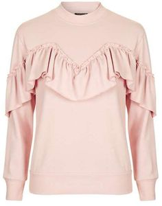 Chic Sweatshirts To Buy Now - Topshop pink ruffle sweatshirt Frilly Shirt, Ruffle Shirt, Ruffle Top, Ruffles, Topshop Tops, Frill Tops, Petite Tops, Flutter Sleeve Top, Cute Sweaters